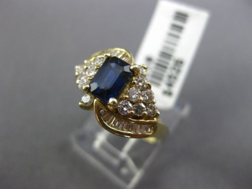 WIDE 1.67CT ROUND & BAGUETTE DIAMOND & SAPPHIRE 14KT YELLOW GOLD ENGAGEMENT RING