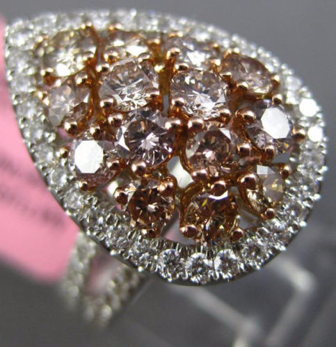 LARGE 2.21CT WHITE & PINK DIAMOND 18KT 2 TONE GOLD PEAR SHAPED ANNIVERSARY RING