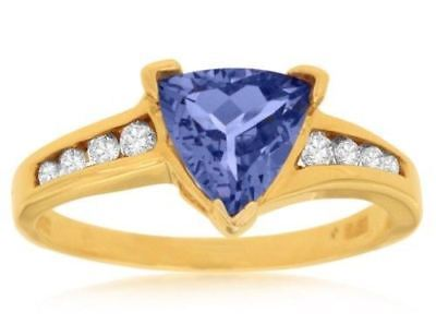 ESTATE 1.28CT DIAMOND & AAA TANZANITE 14KT YELLOW GOLD TRILLION ENGAGEMENT RING
