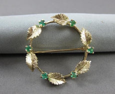 ANTIQUE .40CT AAA EMERALD 14KT YELLOW GOLD CHRISTMAS WREATH BROOCH PIN #17413
