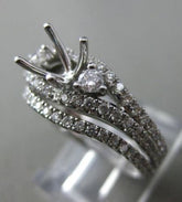 1.0CT DIAMOND 14K WHITE GOLD PAST PRESENT FUTURE SEMI MOUNT ANNIVERSARY RING SET