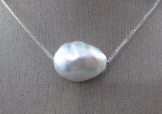 ESTATE LARGE AAA SOUTH SEA PEARL 18KT WHITE GOLD 3D CLASSIC FLOATING NECKLACE