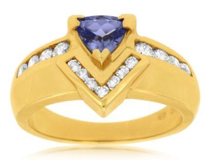 ESTATE 1.10CT DIAMOND & AAA TANZANITE 14KT YELLOW GOLD TRILLION ENGAGEMENT RING