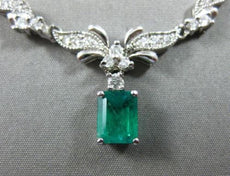 ESTATE 1.40CT DIAMOND & AAA COLOMBIAN EMERALD 14KT WHITE GOLD 3D FLOWER NECKLACE