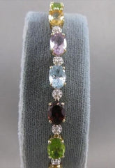 "ESTATE 17CTW DIAMOND AMETHYST TOPAZ GARNET GEMS Y GOLD BRACELET 75MM .25"" #20244"