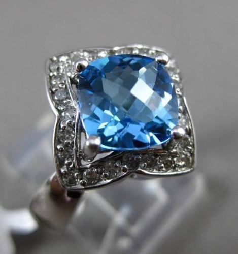 ESTATE 2.45CT DIAMOND & AAA BLUE TOPAZ 14KT WHITE GOLD STAR FLORAL FILIGREE RING