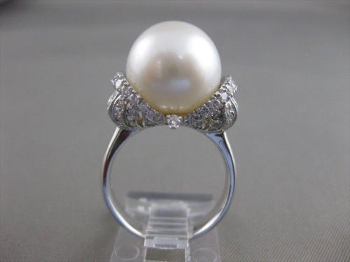 ESTATE DIAMOND 14MM SOUTH SEA PEARL 14KT WHITE GOLD FANCY COCKTAIL RING VS #2670