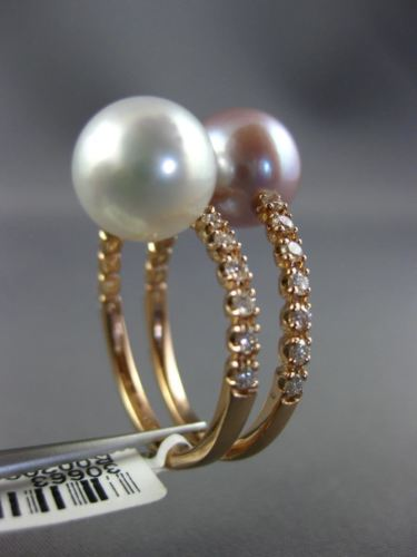 WIDE .60CT DIAMOND & AAA SOUTH SEA & PINK PEARL 18KT ROSE GOLD CRISS CROSS RING