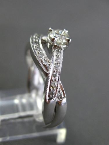 ESTATE 1.0CT DIAMOND 14KT WHITE GOLD 3D INFINITY ENGAGEMENT RING AGL CERTIFIED