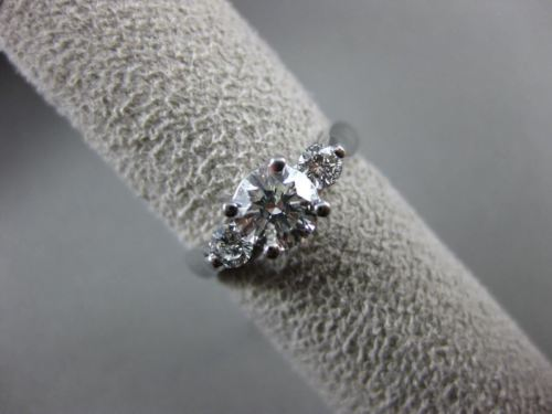 ESTATE 1.20CT DIAMOND 14K WHITE GOLD 3 STONE PAST PRESENT FUTURE ENGAGEMENT RING