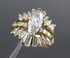 ESTATE 2.62CT DIAMOND MARQUISE ENGAGEMENT WEDDING INSERT 14KT Y GOLD RING #19125