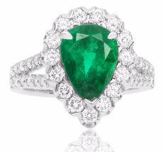 ESTATE 3.96CT DIAMOND & AAA EMERALD 18K WHITE GOLD 3D PEAR SHAPE ENGAGEMENT RING