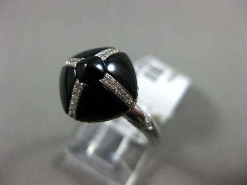 ESTATE WIDE .42CT ROUND DIAMOND & ONYX 14KT WHITE GOLD 3D SQUARE DOME SHAPE RING
