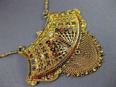 ANTIQUE OLD MINE DIAMOND 22KT YELLOW GOLD ENAMEL FILIGREE HANGING NECKLACE #2122