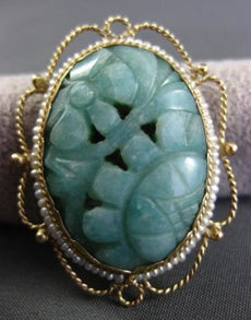 ANTIQUE LARGE AAA JADE & PEARL 14KT YELLOW GOLD 3D FILIGREE BROOCH PENDANT