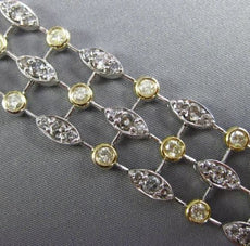 ESTATE WIDE 8.69CT WHITE & FANCY YELLOW DIAMOND 18KT 2 TONE GOLD 3 ROW BRACELET