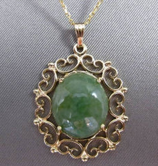 ANTIQUE JADE 14KT YELLOW GOLD FILIGREE HEART FLOATING PENDANT & CHAIN #24042