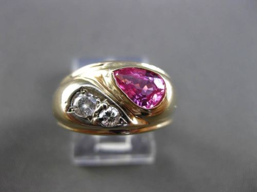 ANTIQUE .97CT OLD MINE DIAMOND & PINK SAPPHIRE 14KT TWO TONE GOLD 3D RING #24570