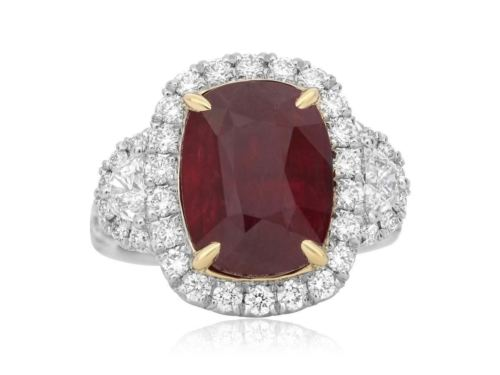 GIA CERTIFIED 9.64CT DIAMOND & AAA RUBY 18K YELLOW GOLD PLATINUM ENGAGEMENT RING