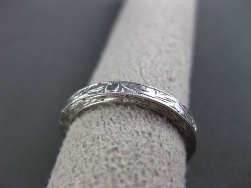 ANTIQUE 14KT WHITE GOLD 3D FLORAL FILIGREE WEDDING ANNIVERSARY RING 2mm #18938