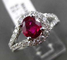 ESTATE WIDE 2.06CT DIAMOND & AAA RUBY 18KT WHITE GOLD DOUBLE ROW ENGAGEMENT RING