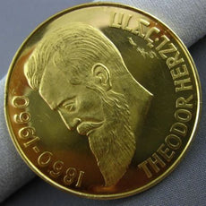 ESTATE LARGE 22KT YELLOW GOLD 1948 THEODOR HERZL ISRAELI JOURNALIST COIN 36mm