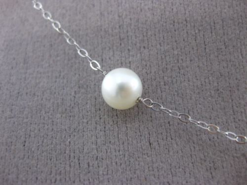 ESTATE AAA PEARL 14KT WHITE GOLD PEARL BY THE YARD DIAMOND CUT NECKLACE #24949