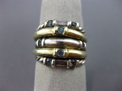 WIDE DAVID YURMAN AAA BLUE TOPAZ .80CT 18KT YELLOW GOLD & 925 SILVER ETOILE RING