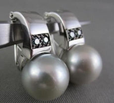 ESTATE AAA SOUTH SEA PEARL & BLUE DIAMONDS 14KT WHITE GOLD HANGING EARRINGS!!!!!