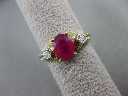 ANTIQUE 1.54CT DIAMOND & AAA RUBY 14K WHITE & YELLOW GOLD ENGAGEMENT RING #22053