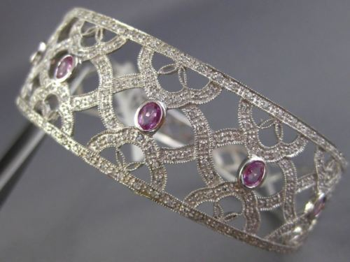 ESTATE WIDE 2.08CT DIAMOND & PINK SAPPHIRE 14K WHITE GOLD ETOILE INFINITY BANGLE