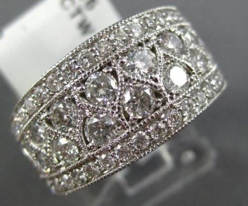 WIDE 1.50CT DIAMOND 14KT WHITE GOLD 3D MILGRAIN SEMI ETERNITY ANNIVERSARY RING