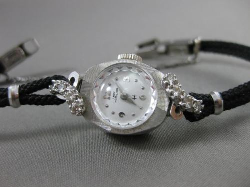ANTIQUE .24CT OLD MINE DIAMOND 14KT WHITE GOLD FLORAL LADY HAMILTON WATCH #19267