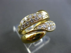 ESTATE WIDE 1.40CT DIAMOND 18KT YELLOW GOLD 2 ROW INSERT RING E/F VVS #10033