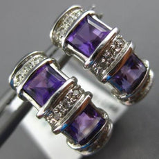 ESTATE 1.55CT DIAMOND & AAA AMETHYST 14KT WHITE GOLD 3D SQUARE HUGGIE EARRINGS