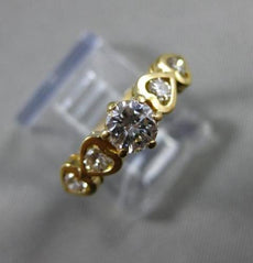 ESTATE 1CT ROUND DIAMOND 14KT YELLOW GOLD FILIGREE HEART ENGAGEMENT RING #21123