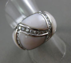 ESTATE WIDE .55CT DIAMOND 14KT WHITE GOLD AAA MOTHER OF PEARL CRISS CROSS RING
