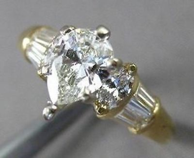 ESTATE 1.16CT DIAMOND 14KT W&Y GOLD MARQUISE & BAGUETTE ENGAGEMENT RING #4942