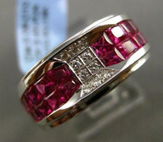 ESTATE WIDE 3.53CT DIAMOND & AAA EXTRA FACET RUBY 18KT WHITE GOLD 3D MENS RING