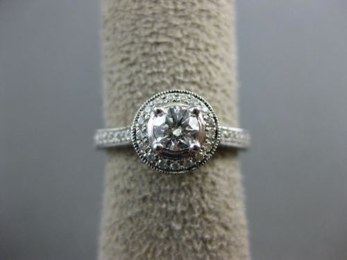 ESTATE 1.0CT DIAMOND 14KT WHITE GOLD ROUND HALO SEMI ETERNITY ENGAGEMENT RING