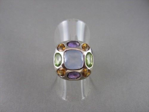 ESTATE 9.65CTW WIDE MULTI COLOR STONES 14KT WHITE GOLD RING