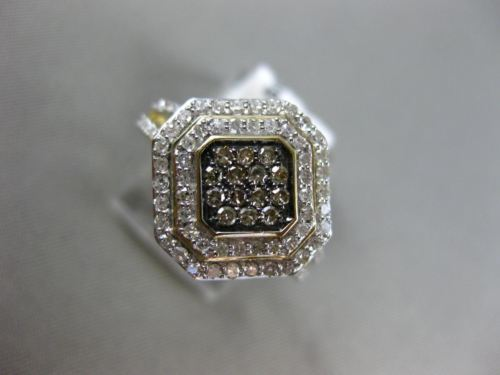 WIDE .50CT WHITE & CHOCOLATE FANCY DIAMOND 14KT TWO TONE GOLD DDOUBLE HALO RING