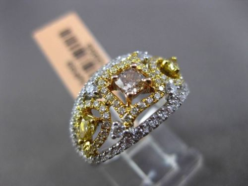 ESTATE 1.27CTW FANCY COLOR DIAMOND 18KT TWO TONE GOLD MULTI SHAPE COCKTAIL RING