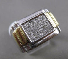 ESTATE LARGE 1.0CT DIAMOND 14K TWO TONE GOLD SQUARE PRINCESS CUT MENS GYPSY RING