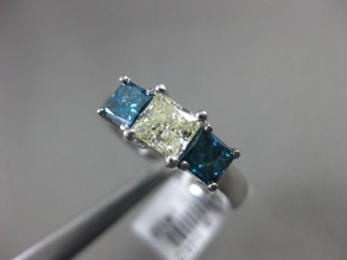 ESTATE 2.32CT FANCY BLUE & YELLOW DIAMOND 14K WHITE GOLD 3 STONE ENGAGEMENT RING