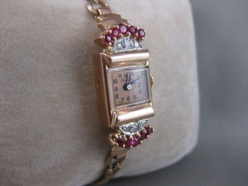 "ANTIQUE 1.72CTW OLD MINE CUT DIAMOND RUBY 14K ROSE GOLD LIWACO WATCH 7.00"" #1925"