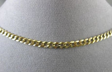 ESTATE WIDE 14KT YELLOW GOLD DIAMOND CUT CURB ITALIAN NECKLACE CHAIN #24750