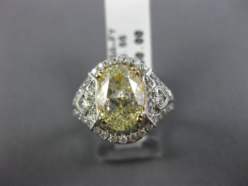 LARGE 3.90CT WHITE & FANCY YELLOW DIAMOND 14KR WHITE GOLD HEART ENGAGEMENT RING
