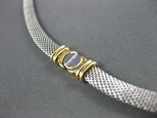 ESTATE WIDE & LONG 14KT WHITE & YELLOW GOLD MESH SCREW NECKLACE UNIQUE! #22677