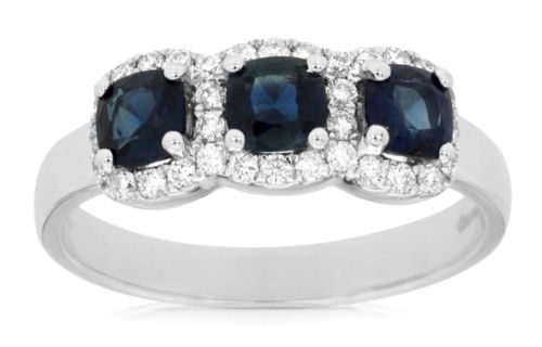 ESTATE 1.2CT DIAMOND & AAA SAPPHIRE 14K WHITE GOLD PAST PRESENT FUTURE HALO RING
